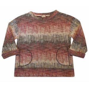 Anthropologie Soundwaves Cream/Red Sweater M NWOT